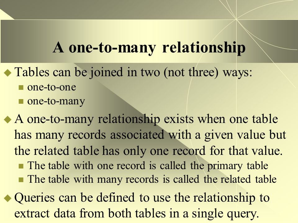 A one-to-many relationship  Tables can be joined in two (not three) ways: one-to-one one-to-many  A one-to-many relationship exists when one table h