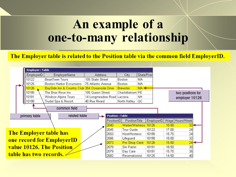 An example of a one-to-many relationship The Employer table is related to the Position table via the common field EmployerID. The Employer table has o