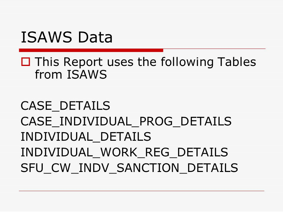 ISAWS Data  This Report uses the following Tables from ISAWS CASE_DETAILS CASE_INDIVIDUAL_PROG_DETAILS INDIVIDUAL_DETAILS INDIVIDUAL_WORK_REG_DETAILS SFU_CW_INDV_SANCTION_DETAILS