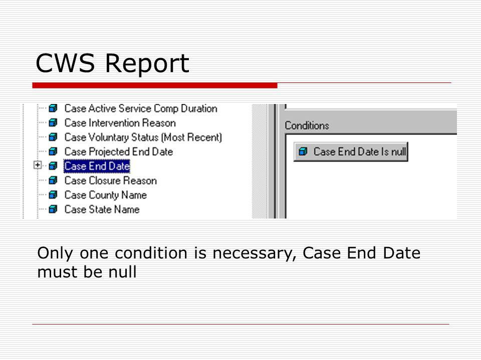 Only one condition is necessary, Case End Date must be null