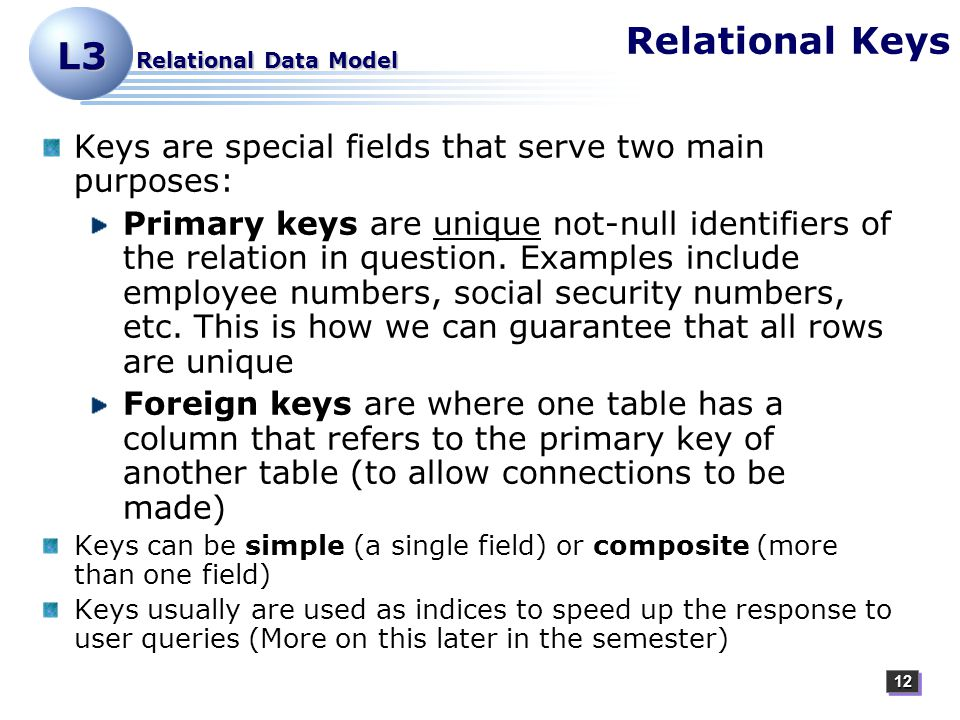 1212 L3 Relational Data Model Relational Keys Keys are special fields that serve two main purposes: Primary keys are unique not-null identifiers of the relation in question.