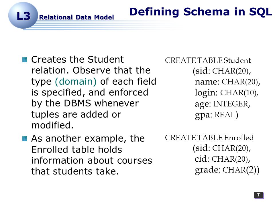 77 L3 Relational Data Model Defining Schema in SQL Creates the Student relation.