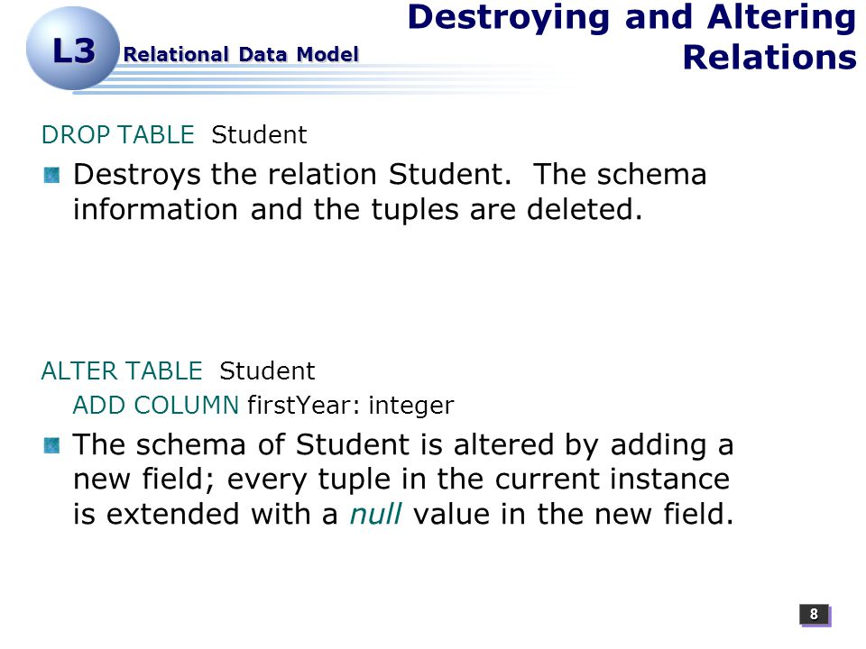 88 L3 Relational Data Model Destroying and Altering Relations DROP TABLE Student Destroys the relation Student.