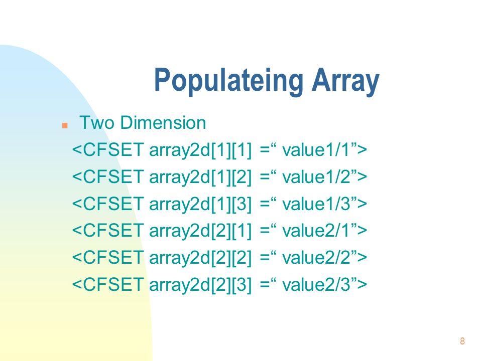 19 Example n ArrayName[1] = 1 n ArrayName[2] = 3 n ArrayName[3] = 2 n ArrayMax(ArrayName) -> 3 n ArrayMin(ArrayName) -> 1 n ArraySum(ArrayName) -> 6 n ArrayAvg(ArrayName) -> 2