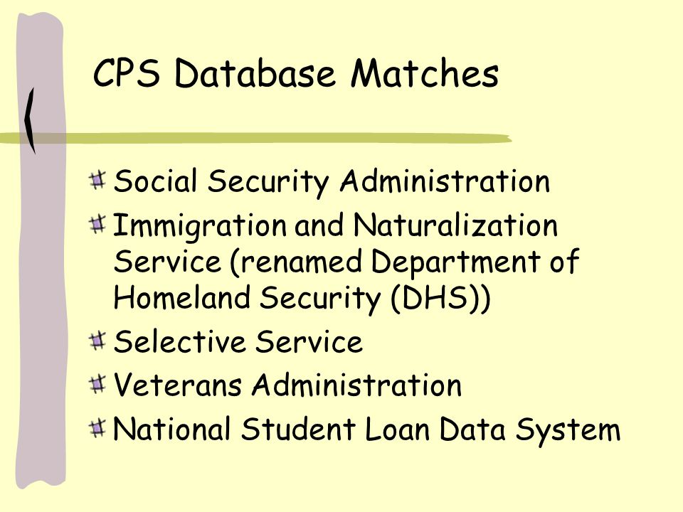CPS Database Matches Social Security Administration Immigration and Naturalization Service (renamed Department of Homeland Security (DHS)) Selective Service Veterans Administration National Student Loan Data System