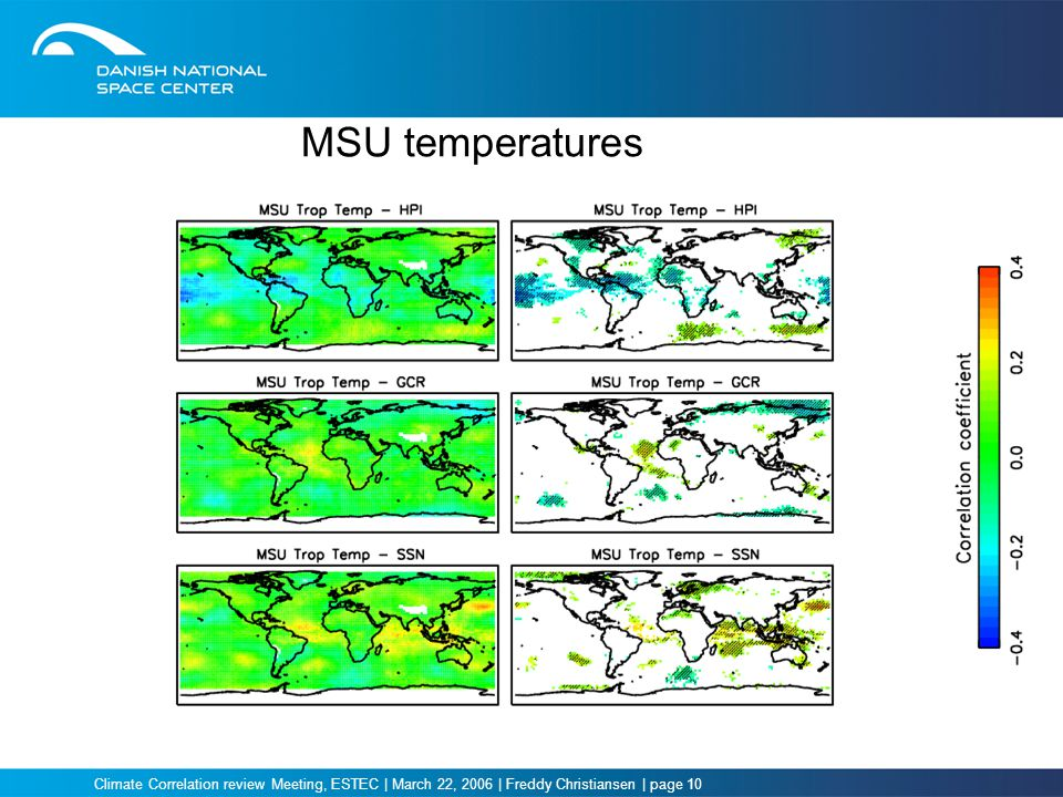 Climate Correlation review Meeting, ESTEC | March 22, 2006 | Freddy Christiansen | page 10 MSU temperatures