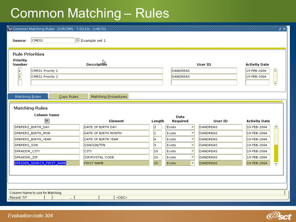 Evaluation code 304 Common Matching – Rules