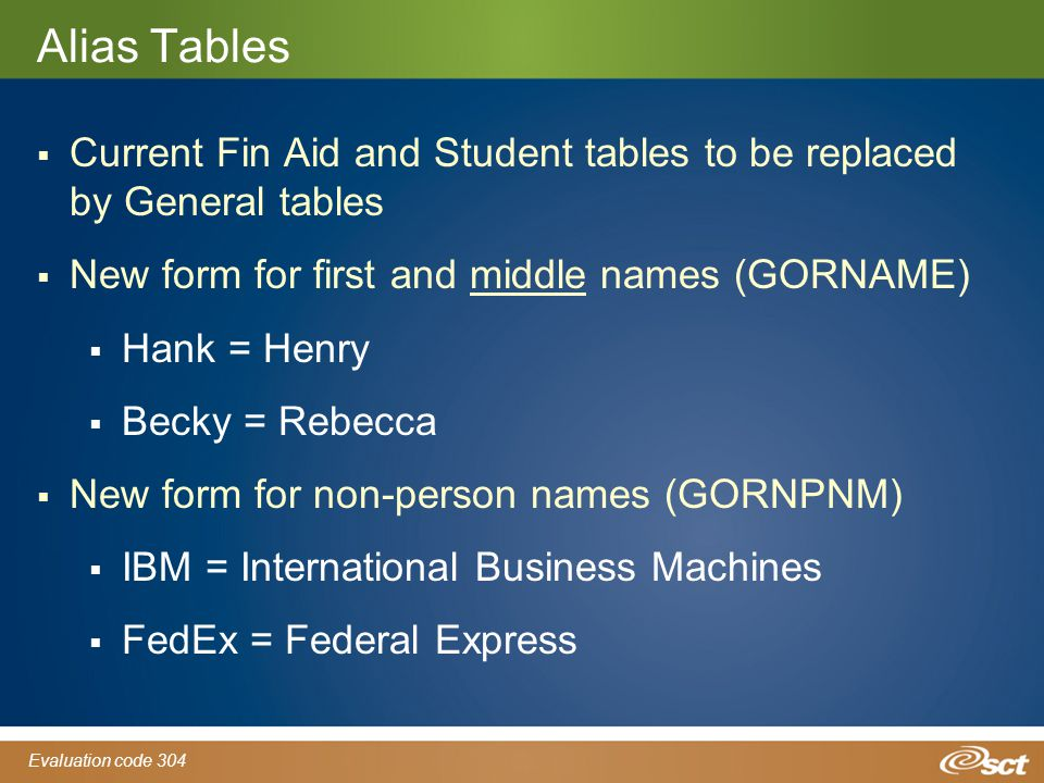 Evaluation code 304 Alias Tables  Current Fin Aid and Student tables to be replaced by General tables  New form for first and middle names (GORNAME)  Hank = Henry  Becky = Rebecca  New form for non-person names (GORNPNM)  IBM = International Business Machines  FedEx = Federal Express