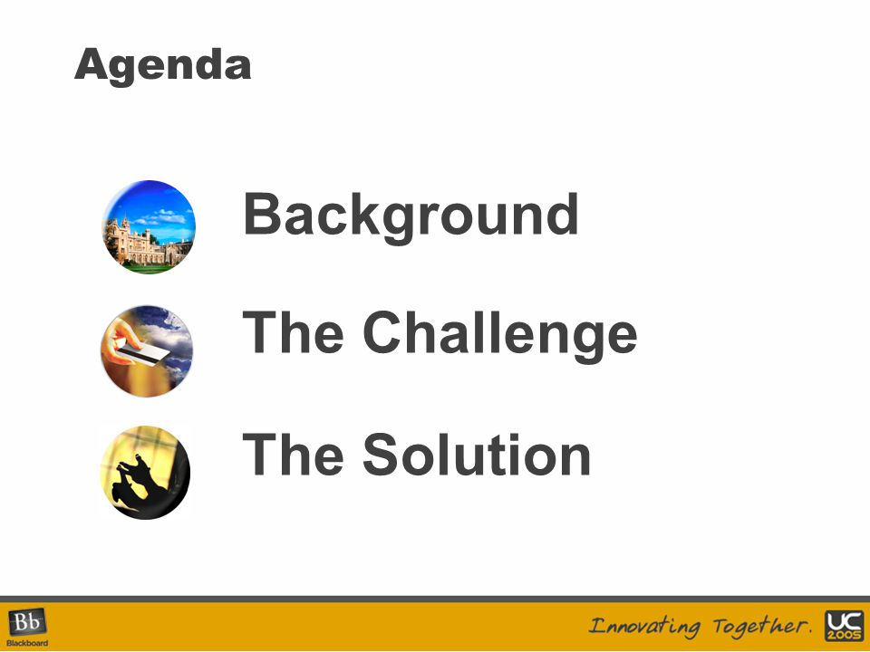 Agenda Background The Challenge The Solution