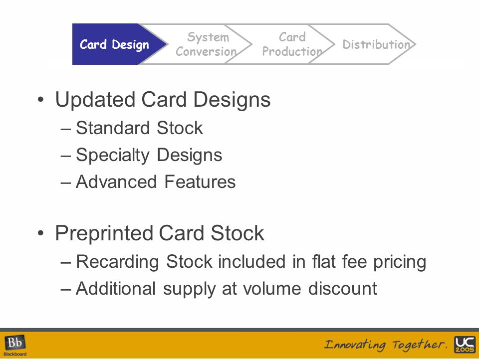 Updated Card Designs –Standard Stock –Specialty Designs –Advanced Features Preprinted Card Stock –Recarding Stock included in flat fee pricing –Additional supply at volume discount Card Design Card Production Distribution System Conversion