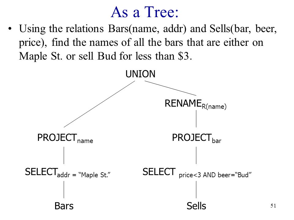 51 As a Tree: BarsSells SELECT addr = Maple St. SELECT price<3 AND beer= Bud PROJECT name RENAME R(name) PROJECT bar UNION Using the relations Bars(name, addr) and Sells(bar, beer, price), find the names of all the bars that are either on Maple St.