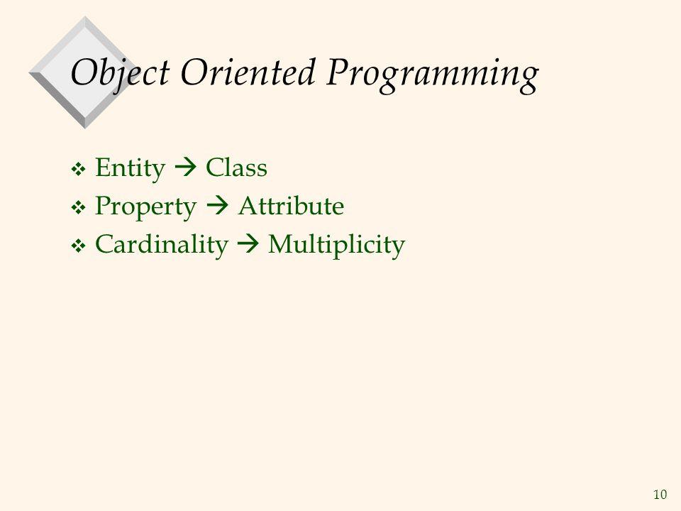 10 Object Oriented Programming v Entity  Class v Property  Attribute v Cardinality  Multiplicity