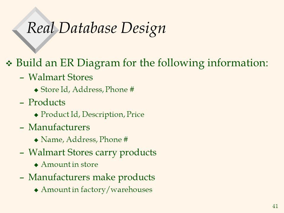 41 Real Database Design v Build an ER Diagram for the following information: –Walmart Stores u Store Id, Address, Phone # –Products u Product Id, Desc