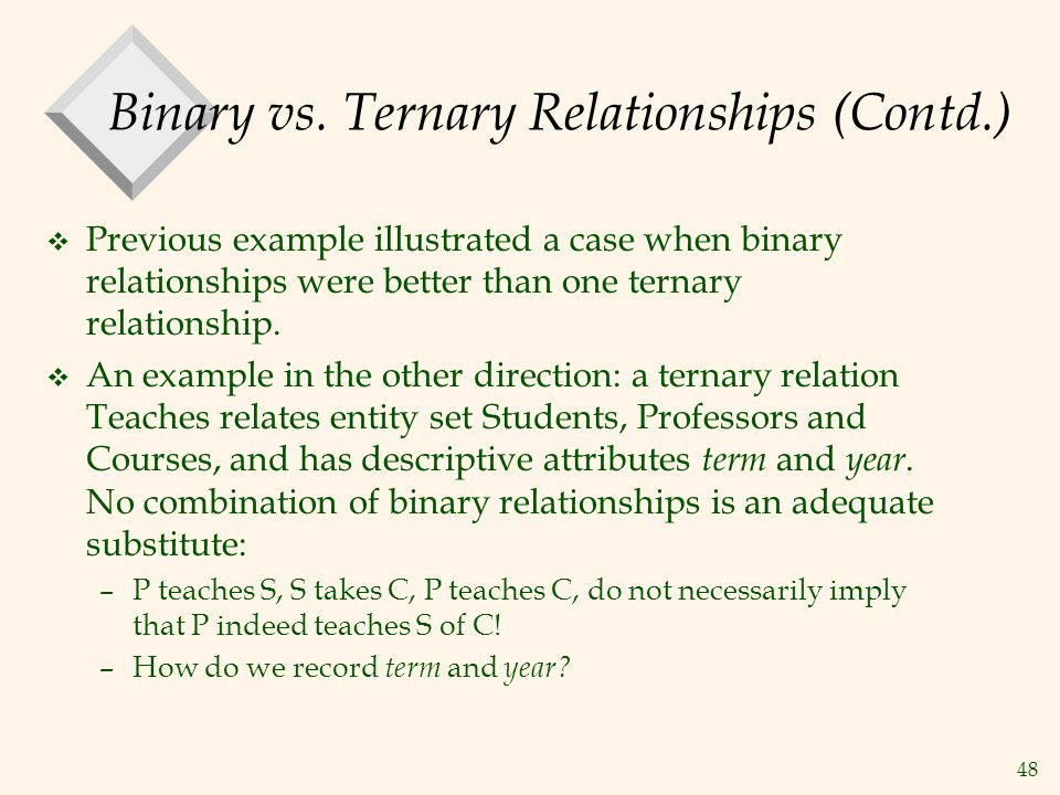 48 Binary vs. Ternary Relationships (Contd.) v Previous example illustrated a case when binary relationships were better than one ternary relationship
