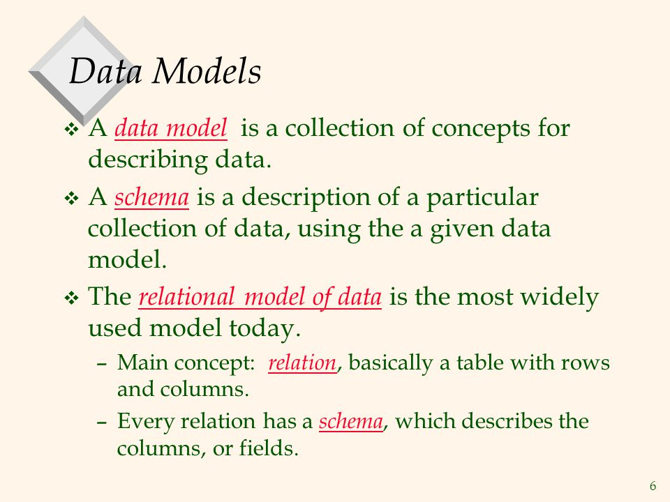 6 Data Models v A data model is a collection of concepts for describing data. v A schema is a description of a particular collection of data, using th