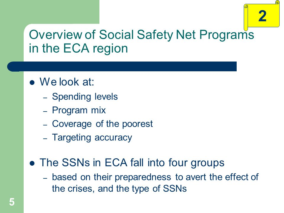 5 Overview of Social Safety Net Programs in the ECA region We look at: – Spending levels – Program mix – Coverage of the poorest – Targeting accuracy The SSNs in ECA fall into four groups – based on their preparedness to avert the effect of the crises, and the type of SSNs 2