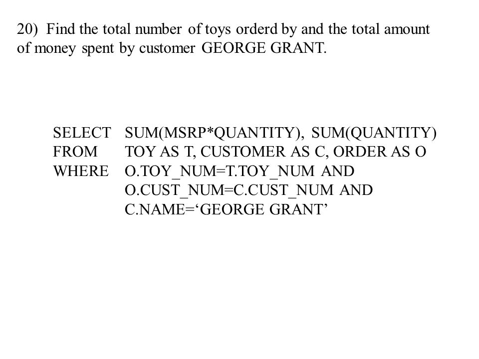 20) Find the total number of toys orderd by and the total amount of money spent by customer GEORGE GRANT.