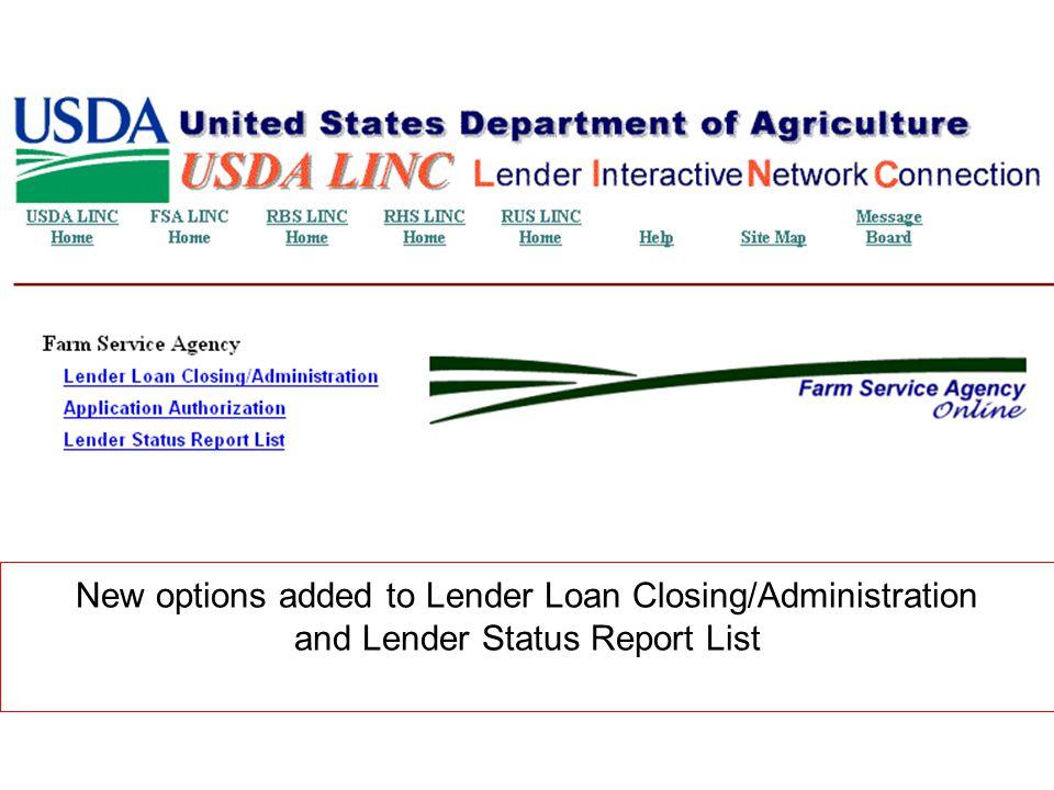 New options added to Lender Loan Closing/Administration and Lender Status Report List