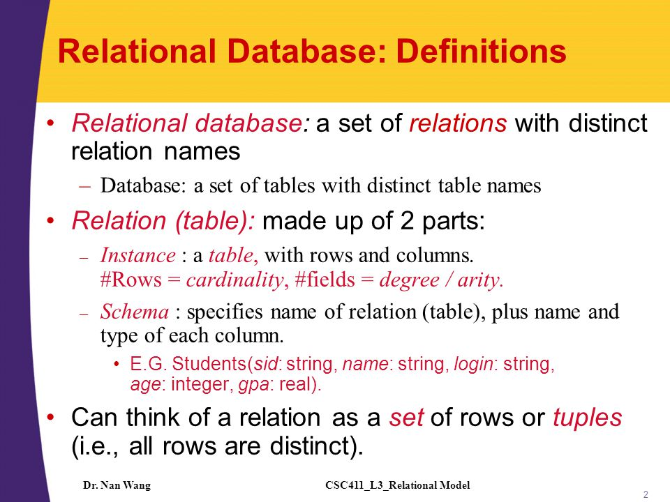 CSC411_L3_Relational ModelDr. Nan Wang 2 Relational Database: Definitions Relational database: a set of relations with distinct relation names –Databa