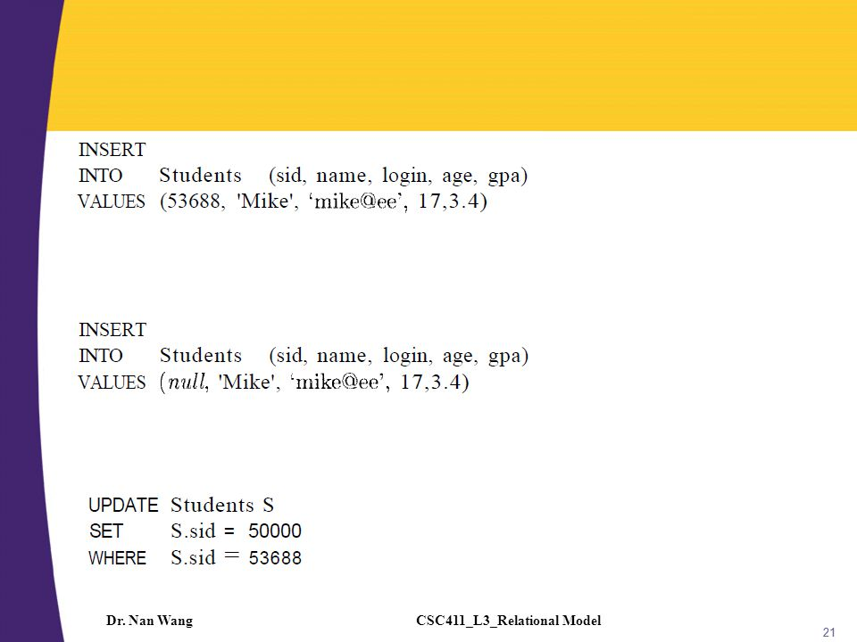 CSC411_L3_Relational ModelDr. Nan Wang 21