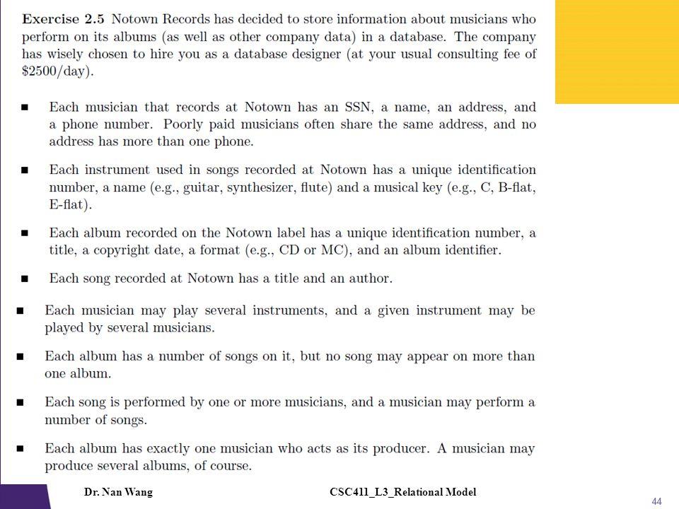 CSC411_L3_Relational ModelDr. Nan Wang 44