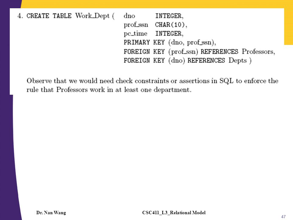 CSC411_L3_Relational ModelDr. Nan Wang 47