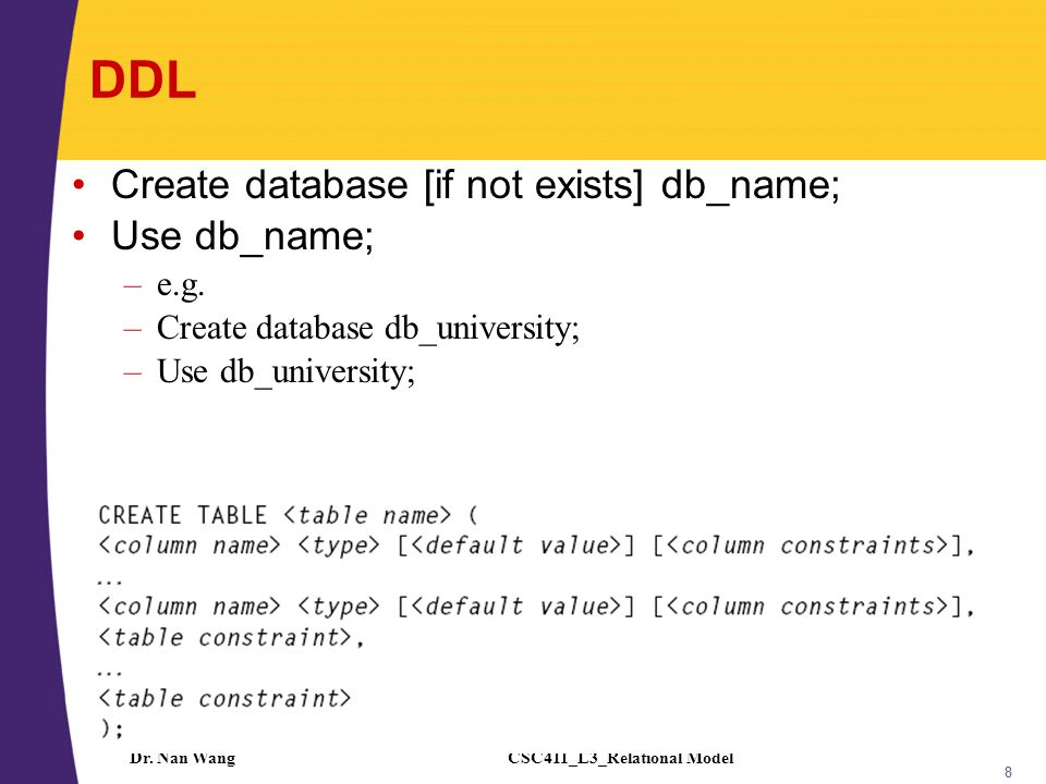 CSC411_L3_Relational ModelDr. Nan Wang 8 DDL Create database [if not exists] db_name; Use db_name; –e.g. –Create database db_university; –Use db_unive