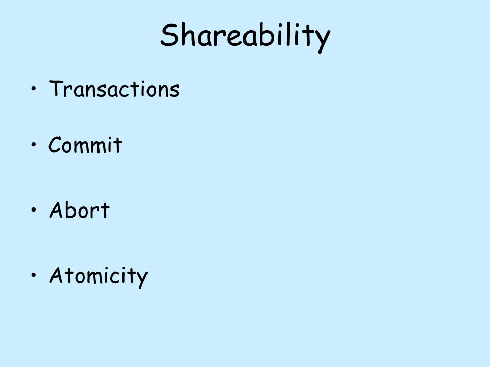 Shareability Transactions Commit Abort Atomicity