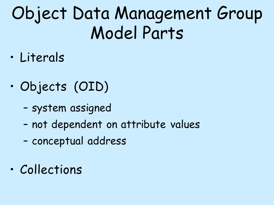 Object Data Management Group Model Parts Literals Objects (OID) –system assigned –not dependent on attribute values –conceptual address Collections