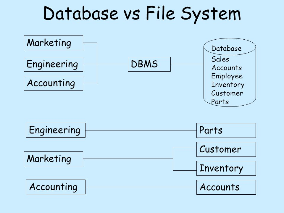 Database vs File System Marketing Engineering Accounting DBMS Database Sales Accounts Employee Inventory Customer Parts Engineering Marketing Accounting Parts Customer Inventory Accounts