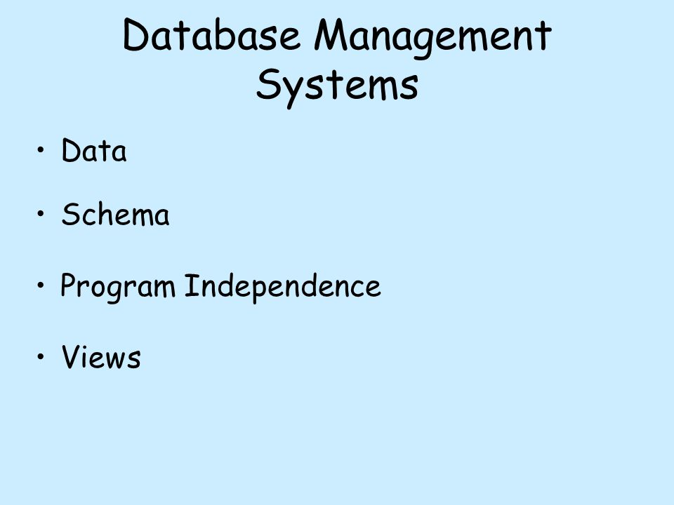 Database Management Systems Data Schema Program Independence Views