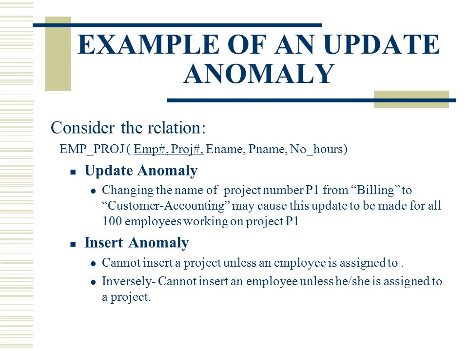 EXAMPLE OF AN UPDATE ANOMALY Consider the relation: EMP_PROJ ( Emp#, Proj#, Ename, Pname, No_hours) Update Anomaly Changing the name of project number