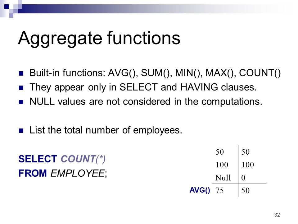 32 Aggregate functions Built-in functions: AVG(), SUM(), MIN(), MAX(), COUNT() They appear only in SELECT and HAVING clauses. NULL values are not cons