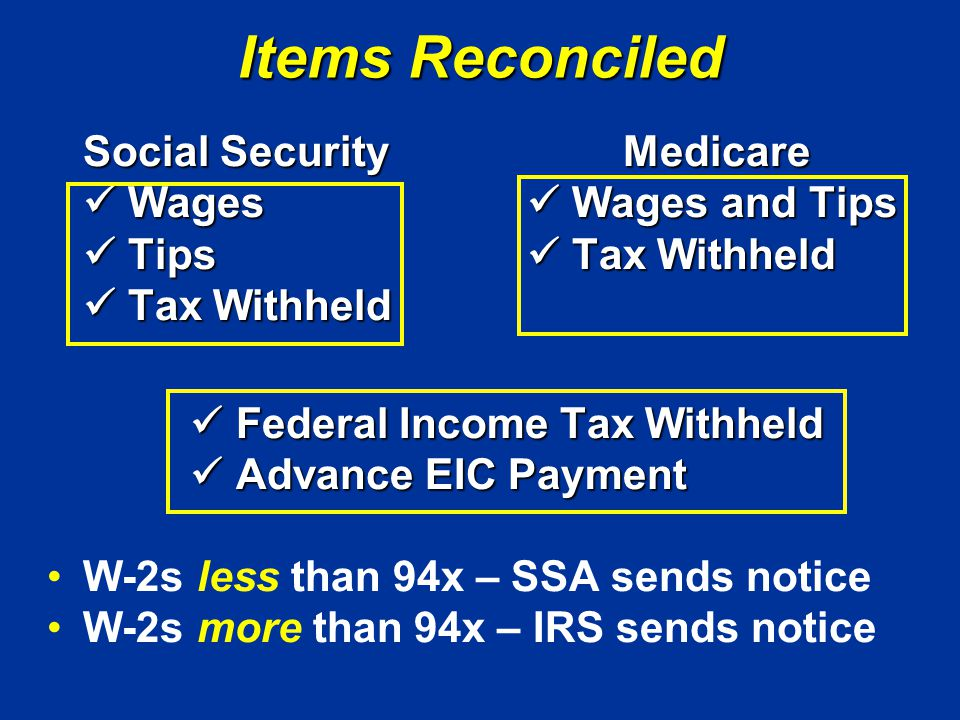 Items Reconciled Social SecurityMedicare Wages Wages and Tips Wages Wages and Tips Tips Tax Withheld Tips Tax Withheld Tax Withheld Tax Withheld Federal Income Tax Withheld Federal Income Tax Withheld Advance EIC Payment Advance EIC Payment W-2s less than 94x – SSA sends notice W-2s more than 94x – IRS sends notice