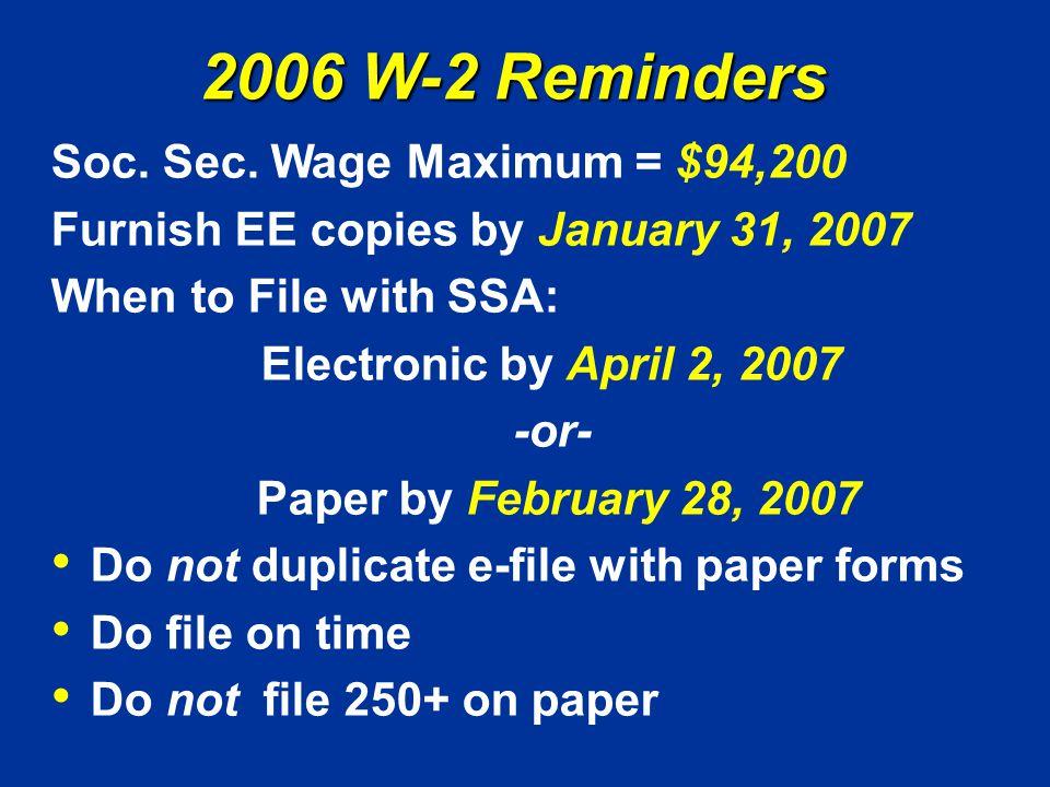 2006 W-2 Reminders Soc. Sec.
