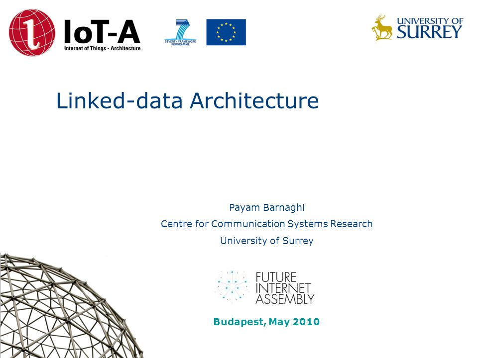 Linked-data Architecture Payam Barnaghi Centre for Communication Systems Research University of Surrey FIA Budapest Linked data session Budapest, May 2010
