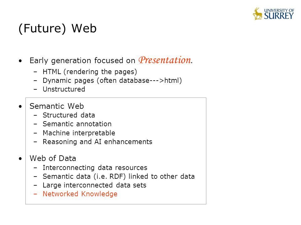 (Future) Web Early generation focused on Presentation.