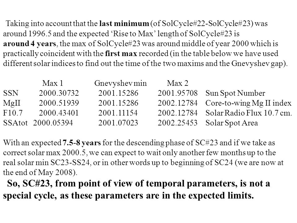 Taking into account that the last minimum (of SolCycle#22-SolCycle#23) was around 1996.5 and the expected 'Rise to Max' length of SolCycle#23 is around 4 years, the max of SolCycle#23 was around middle of year 2000 which is practically coincident with the first max recorded (in the table below we have used different solar indices to find out the time of the two maxims and the Gnevyshev gap).