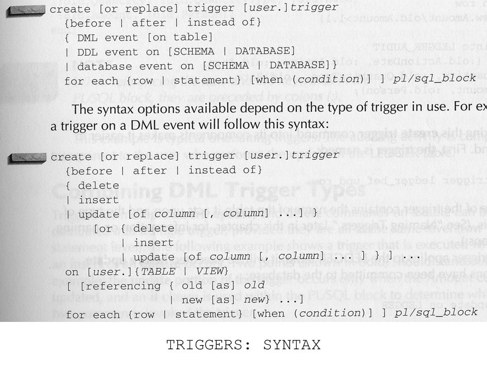 TRIGGERS: SYNTAX
