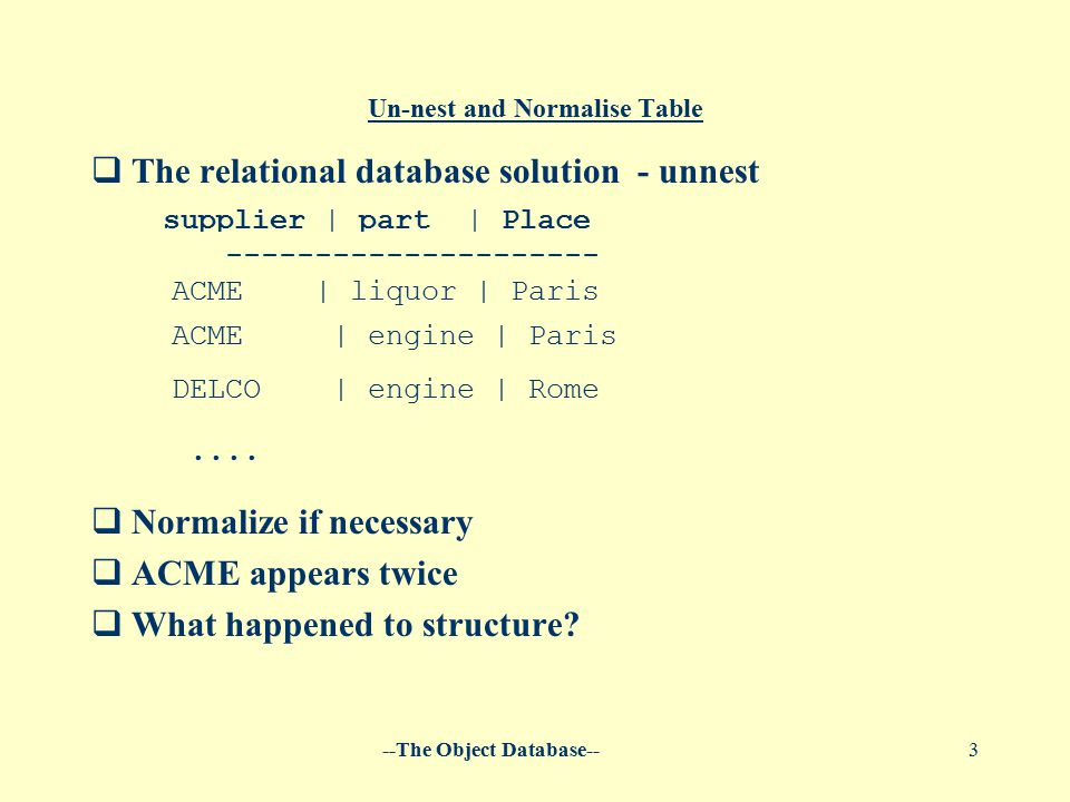 --The Object Database--3 Un-nest and Normalise Table  The relational database solution - unnest   Normalize if necessary  ACME appears twice  Wha