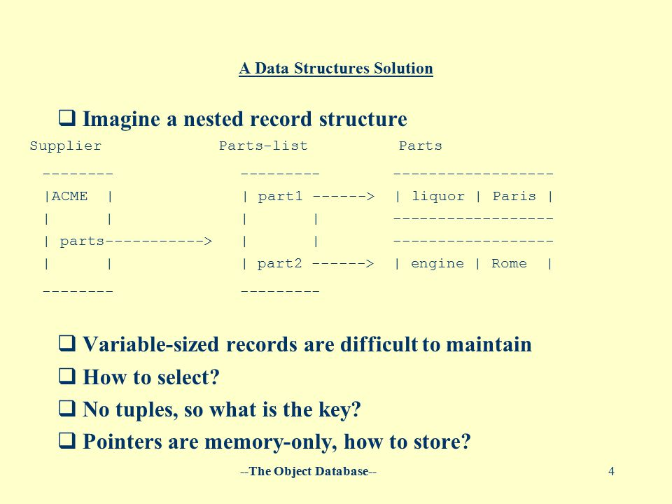 --The Object Database--4 A Data Structures Solution  Imagine a nested record structure  Variable-sized records are difficult to maintain  How to select.