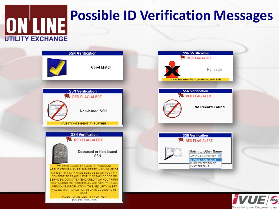 Possible ID Verification Messages