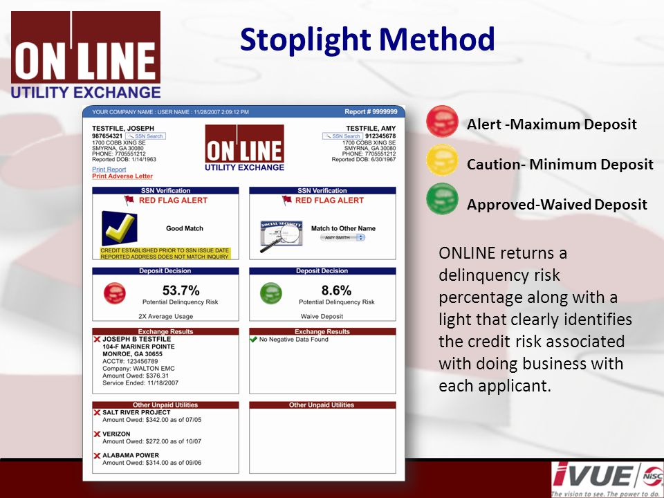 Stoplight Method ONLINE returns a delinquency risk percentage along with a light that clearly identifies the credit risk associated with doing business with each applicant.