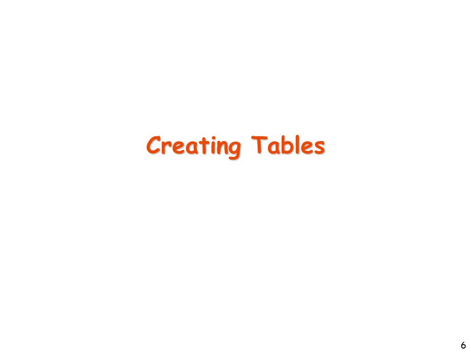 7 Creating a Table The basic format of the CREATE TABLE command is: CREATE TABLE TableName( Column1 DataType1 ColConstraint, … ColumnN DataTypeN ColConstraint, TableConstraint1, … TableConstraintM );