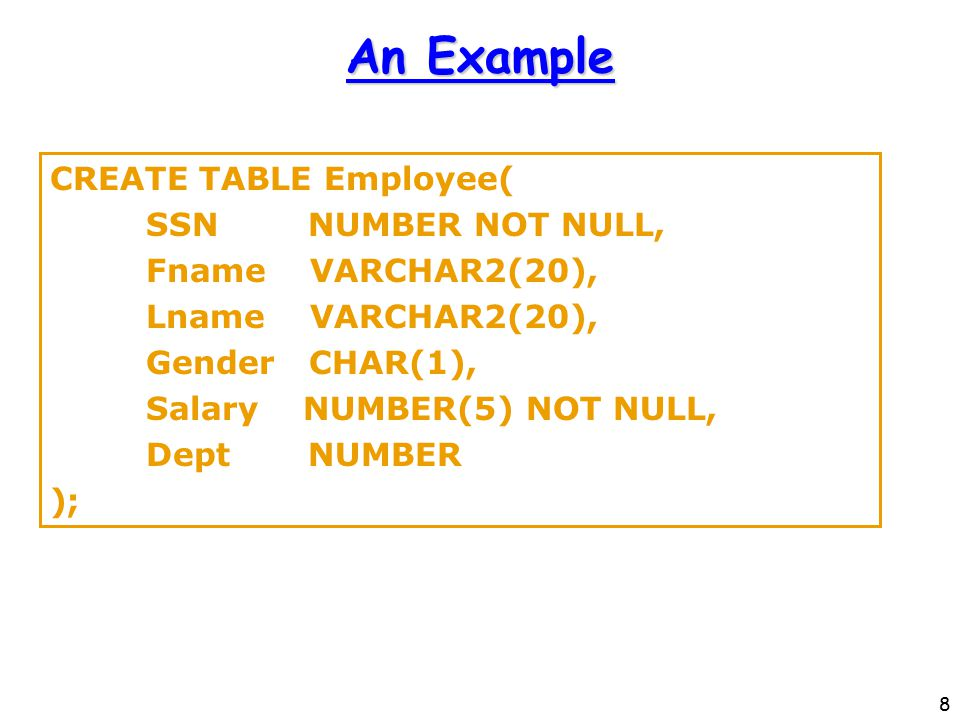 8 An Example CREATE TABLE Employee( SSN NUMBER NOT NULL, Fname VARCHAR2(20), Lname VARCHAR2(20), Gender CHAR(1), Salary NUMBER(5) NOT NULL, Dept NUMBER );