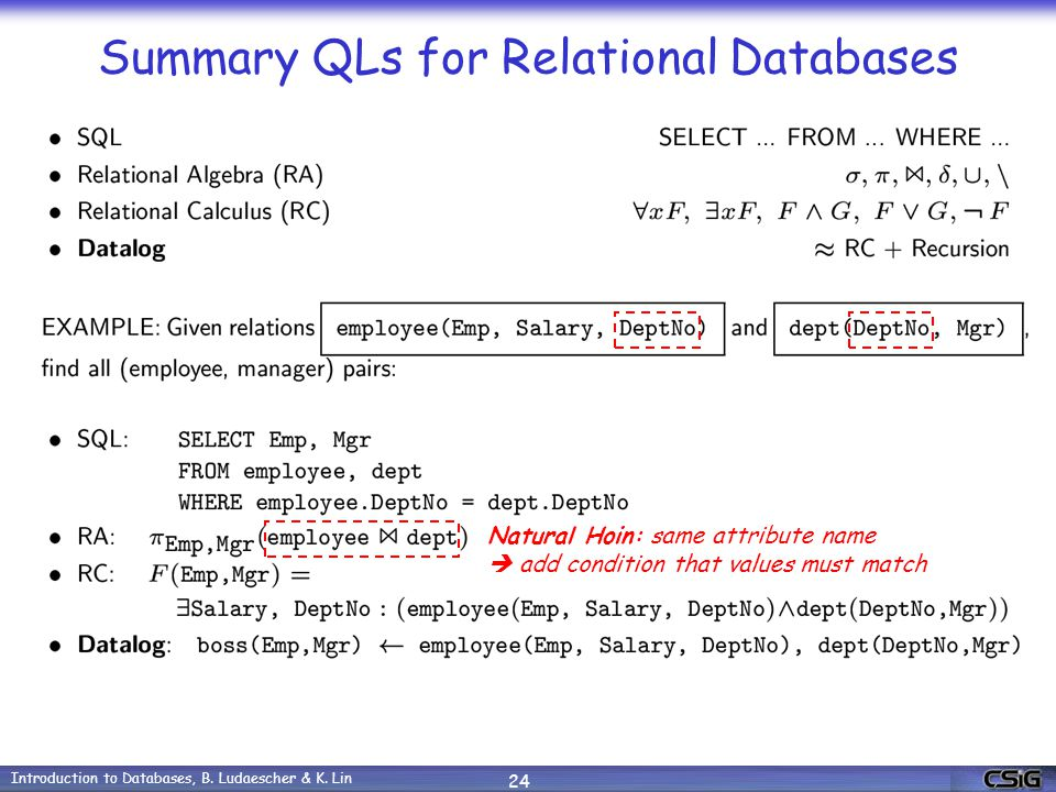 Introduction to Databases, B. Ludaescher & K.