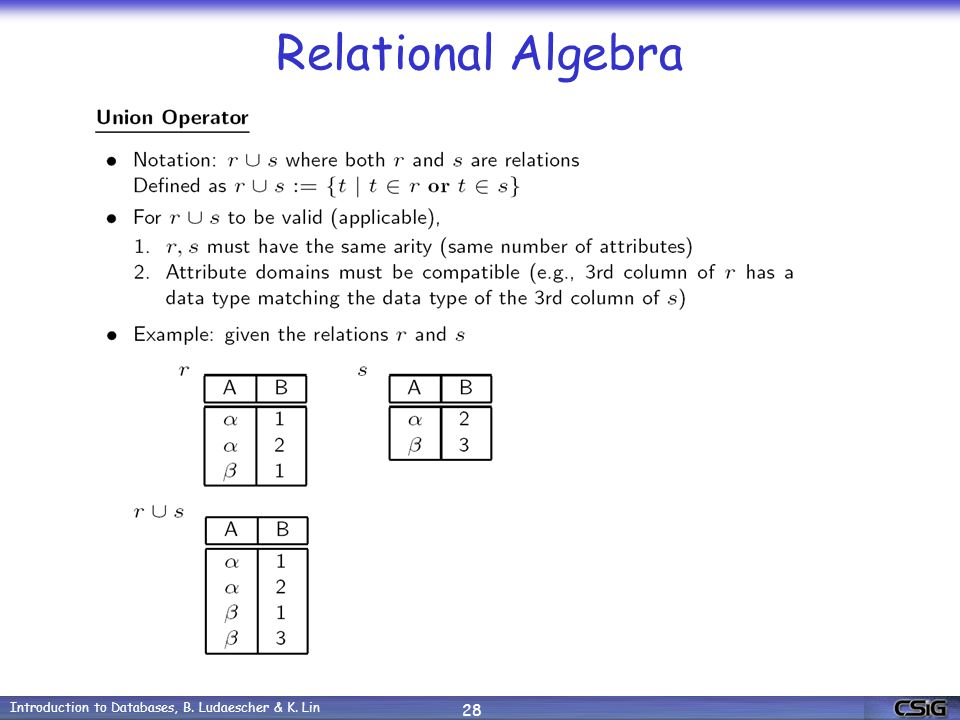 Introduction to Databases, B. Ludaescher & K. Lin 28 Relational Algebra