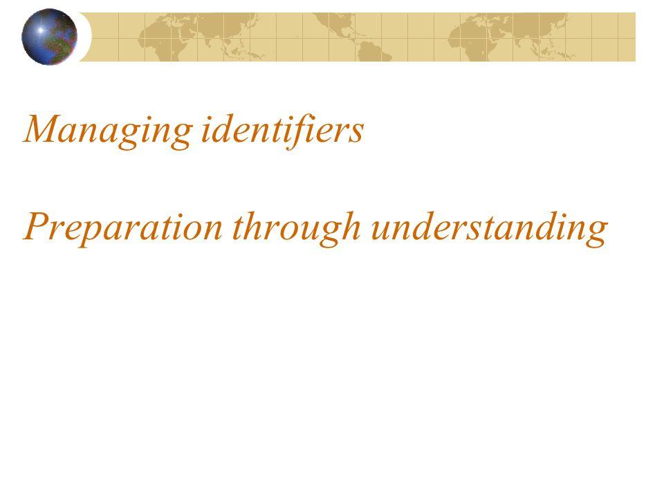 Managing identifiers Preparation through understanding