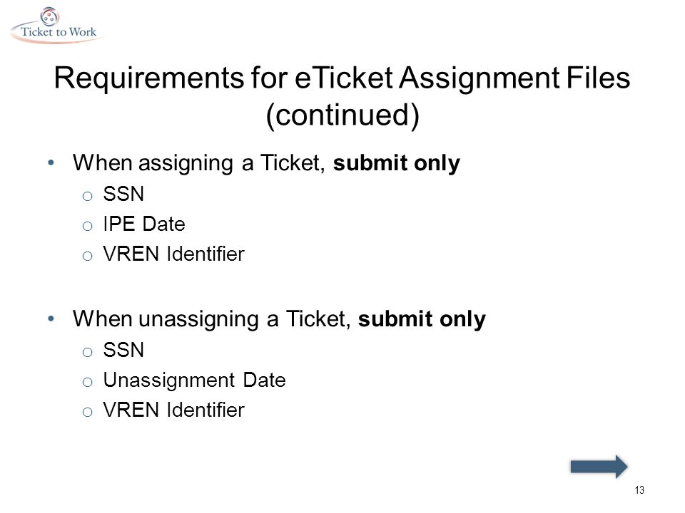 Requirements for eTicket Assignment Files (continued) When assigning a Ticket, submit only o SSN o IPE Date o VREN Identifier When unassigning a Ticket, submit only o SSN o Unassignment Date o VREN Identifier 13