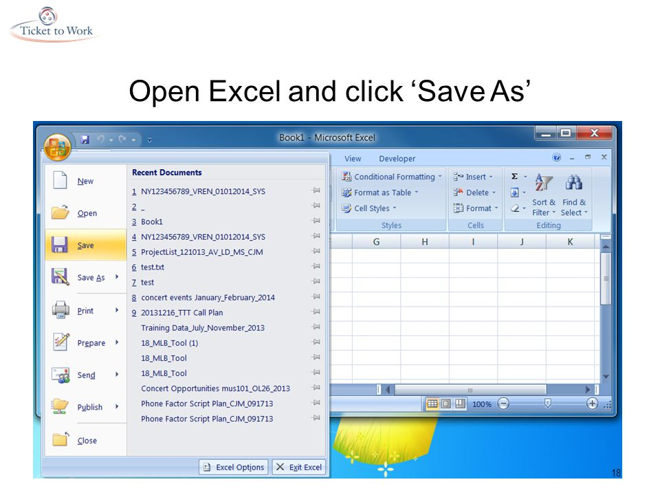 Open Excel and click 'Save As' 18